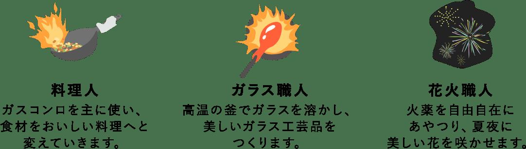 料理人・ガラス職人・花火職人
