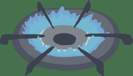 コンロの青い炎